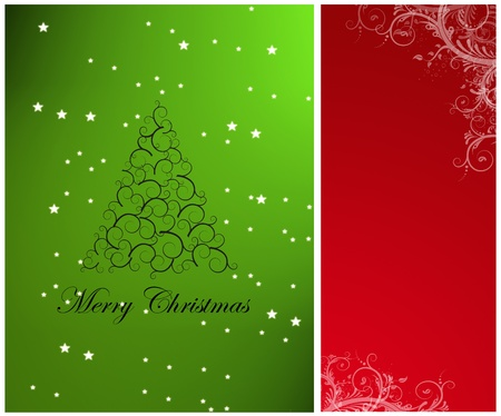 Christmas tree on green background, red space to insert text or design Stock Photo - 9693525