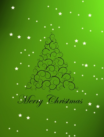 Christmas tree on green background, Card illustration Stock Illustration - 9693833