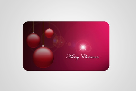 Red merry christmas gift card, isolated on gray,  Stock Photo - 9693192