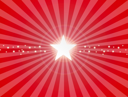 sunrays: Luminous star on red dynamic background. Illustration