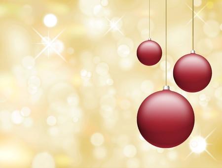 Red christmas balls on yellow background. Illustration illustration