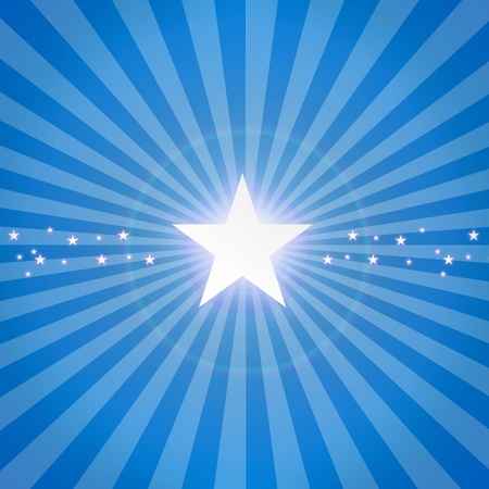 sun burst: Luminous star on blue dynamic background. Illustration