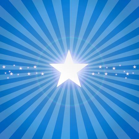 light burst: Luminous star on blue dynamic background. Illustration
