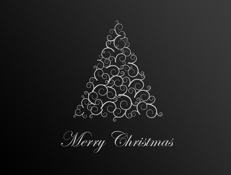 Tree christmas illustration on black background, xmas card illustration