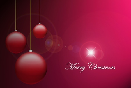 Merry christmas card, balls over red background Stock Photo - 9693590