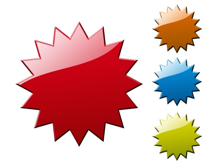 big star: Red, orange, blue and green blank labels, isolated on white, illustration Stock Photo