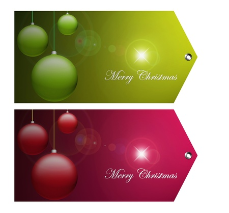 Green and red merry christmas cards on white background, space to insert message or design Stock Photo - 9693707