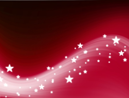 Red wave with stars background, christmas illustration Stock Illustration - 9693438
