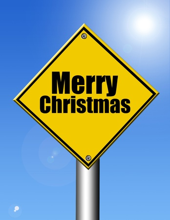 Merry christmas yellow signal on sky background, outdoor illustration illustration