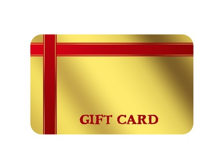 Gold gift card with red ribbon, space to insert text or design photo