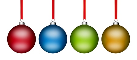 Red, blue, green and yellow christmas balls on white background photo