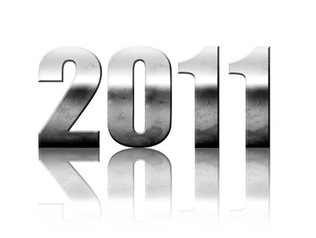2011 chrome number with reflection isolated on white, new year illustration illustration