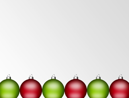 Green and red christmas balls on empty background, space to insert text or design photo