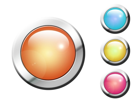 Orange, blue, green and purple buttons with chrome frame Stock Photo - 9693559