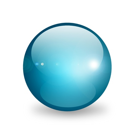 Blue sphere on white background. Object illustration illustration