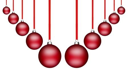 Esferas de Navidad rojas colgando sobre fondo blanco Foto de archivo - 9693112