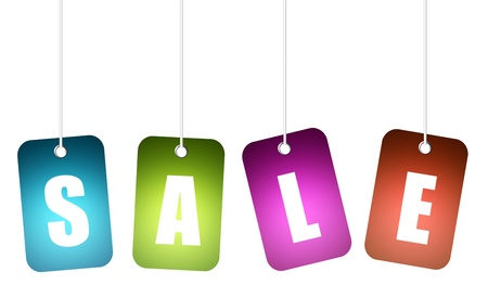 Blue, green, purple and red hangling sale advertisement over white background. Stock Photo - 9693176