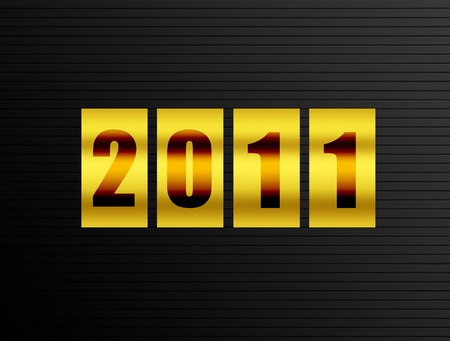 new year counter: 2011 new year counter over black  background. Illustration