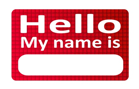 Red and blank name tag sticker over white background  photo