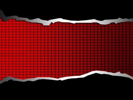 chrome texture: Black squares over red background with black and chrome waves Stock Photo