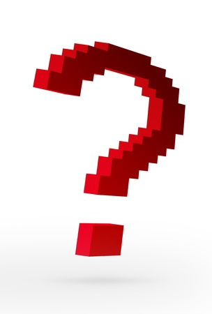 Red bricks forming a question mark over white background Stock Photo - 9693039