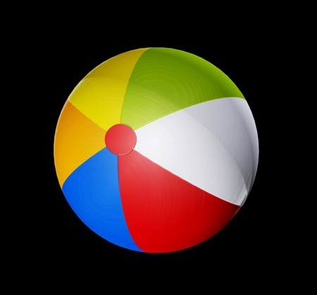 Beach ball with different colored sections and shadow over blsck background photo
