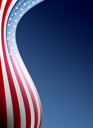 estrellas  de militares: Ola de bandera de Estados Unidos sobre fondo azul. Ilustraci�n Foto de archivo
