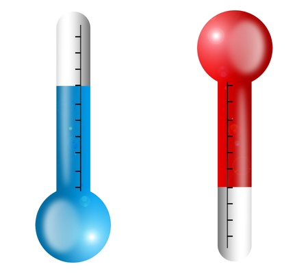 hot temperature: Thermometers measuring hot and cold temperature, Illustration Stock Photo