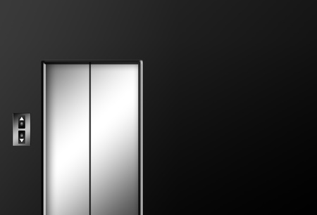 Chrome elevator doors closed on black wall. Illustration illustration