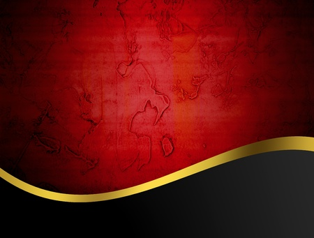 gold border: Red, gold and black abstract illustration, vintage background