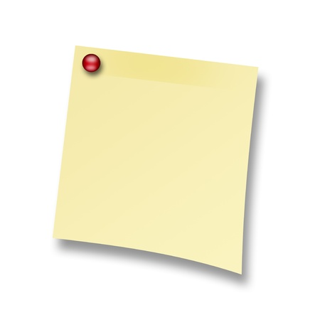 Yellow post with a red tack on a white background, space to insert text or design Stock Photo - 9693063