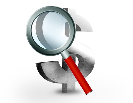 Money sign with magnifying glass on white background, business concepts Stock Photo - 9693515