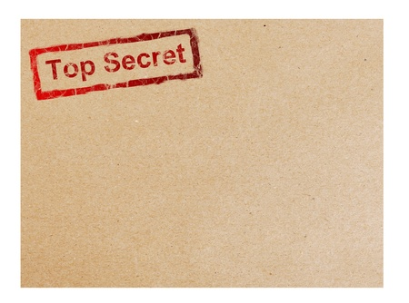 Red top secret stamp on cardboard background, space to insert text or design photo