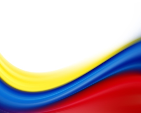 republic of colombia: Yellow, blue and red flag on white background