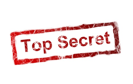 Red top secret stamp on white background photo