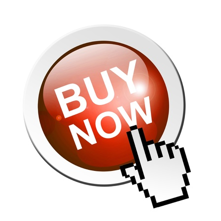 3d button: Buy now button with hand mouse pointer, isolated illustration