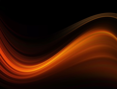 Orange waves on black background, abstract illustration Stock Illustration - 9693435