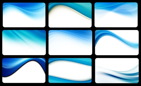 Blue several waves on black boxes over white background photo