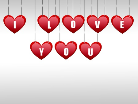 Hearts hanging with the word i love you photo