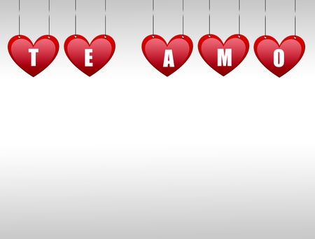 Hearts hanging  with the word te amo Stock Photo - 9693166
