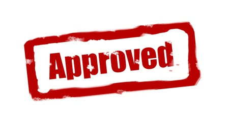 agree: Approved stamp red with fuzzy space over white background Stock Photo