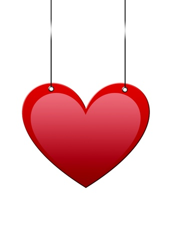 Heart hanging with space to insert text or design Stock Photo - 9693031