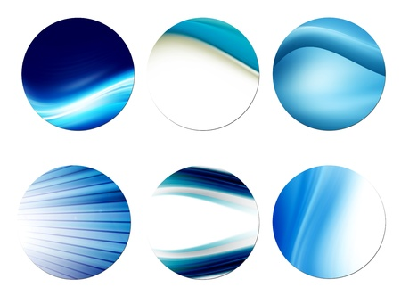 Different waves in circles over white background photo