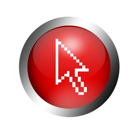 Red button with a cursor arrow inside. Illustration   illustration