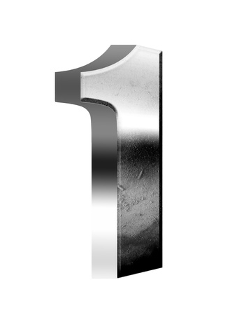 one object: Chrome number one white background, metallic texture. Illustration