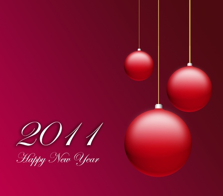 Happy New Year Card 2011 with three red  ball Stock Photo - 9693813