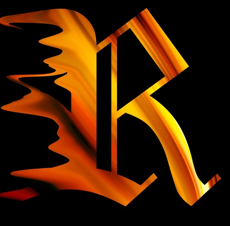 illustrated: letter r with fire effect