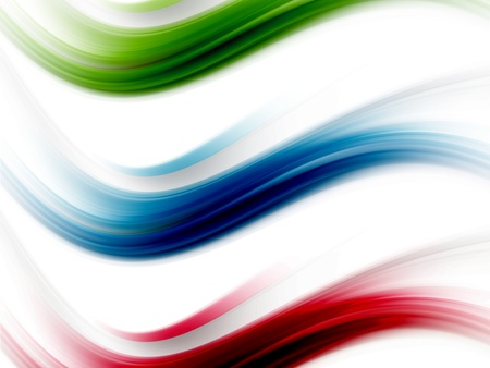 blue, red and green dynamic waves on white background Stock Photo - 9697877