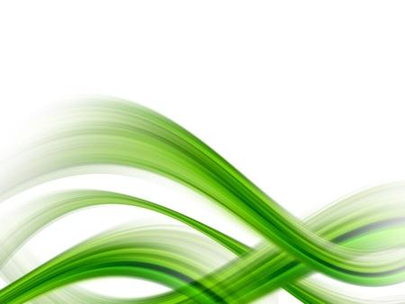 green dynamic waves on white background, illustration Stock Illustration - 9698014