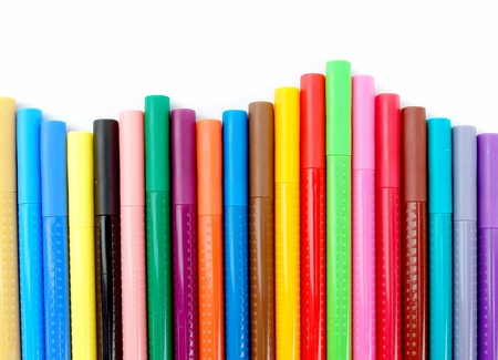 bookmark lines with red, green, blue, black and orange colors on white background photo